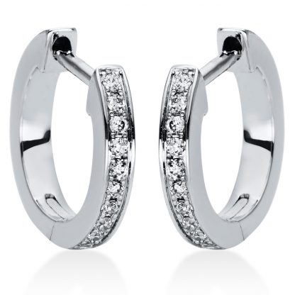 18 kt white gold hoops & huggies with 20 diamonds 2I877W8-1