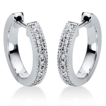 18 kt white gold hoops & huggies with 22 diamonds 2I984W8-1