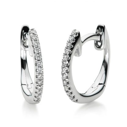 18 kt white gold hoops & huggies with 26 diamonds 2B100W8-21