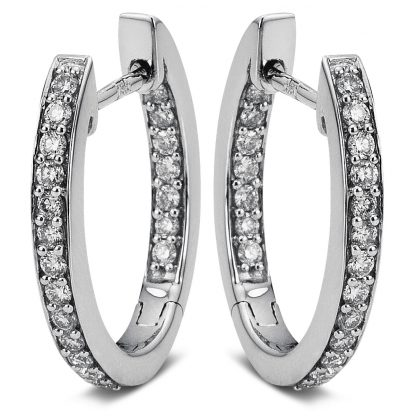 18 kt white gold hoops & huggies with 40 diamonds 2A073W8-8
