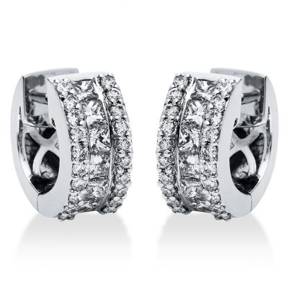 18 kt white gold hoops & huggies with 52 diamonds 2I275W8-1