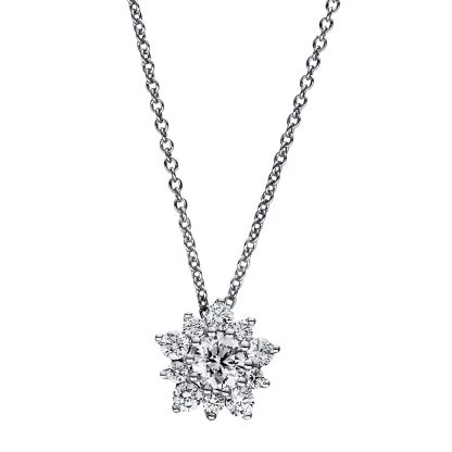 18 kt white gold necklace with 11 diamonds 4F348W8-3