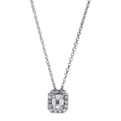 18 kt white gold necklace with 15 diamonds 4F357W8-1