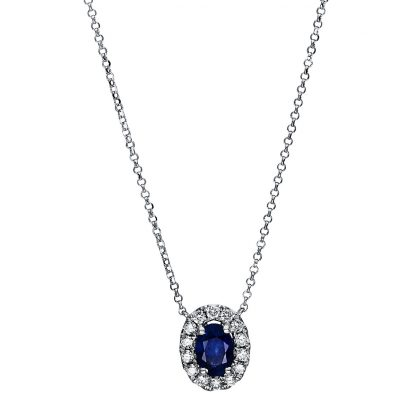 18 kt white gold necklace with 16 diamonds