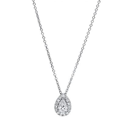 18 kt white gold necklace with 16 diamonds 4F358W8-1