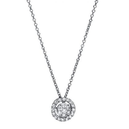 18 kt white gold necklace with 23 diamonds 4F349W8-2