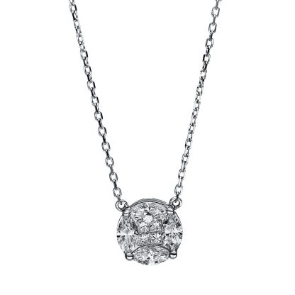 18 kt white gold necklace with 4 diamonds 4F307W8-1