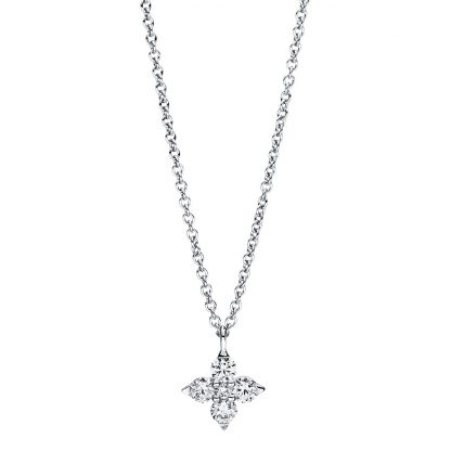 18 kt white gold necklace with 5 diamonds 4F385W8-1