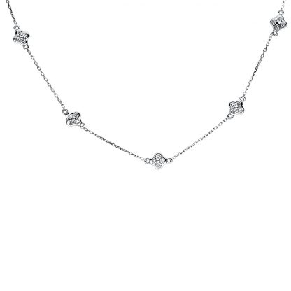 18 kt white gold necklace with 60 diamonds 4F535W8-1