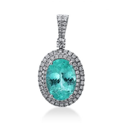 18 kt white gold pendant with 77 diamonds