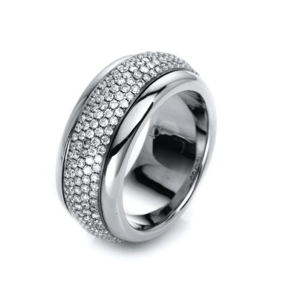 18 kt white gold rotatable ring with 300 diamonds 1A766W856-2