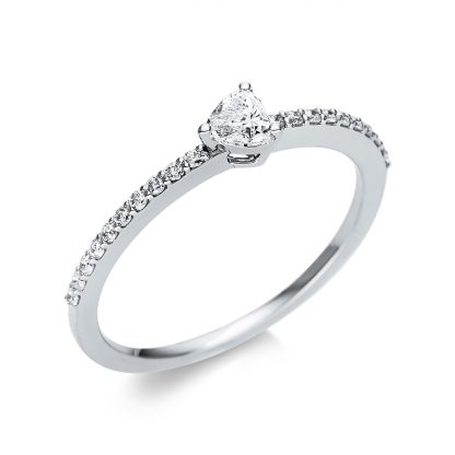 18 kt white gold solitaire with side stones with 21 diamonds 1U612W854-2