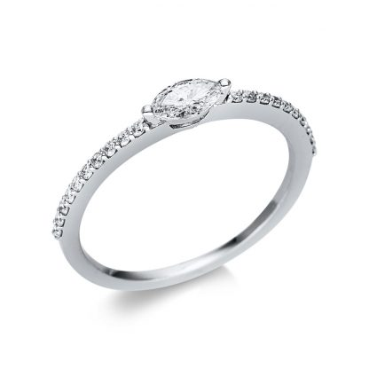 18 kt white gold solitaire with side stones with 21 diamonds 1U615W854-6