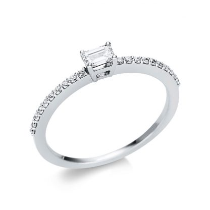 18 kt white gold solitaire with side stones with 21 diamonds 1U620W854-5