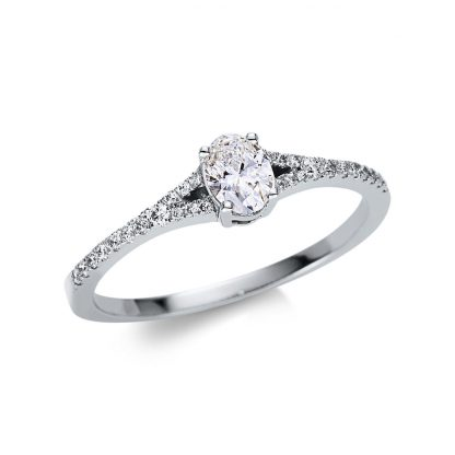 18 kt white gold solitaire with side stones with 29 diamonds 1U483W854-1