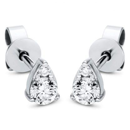 18 kt white gold studs with 4 diamonds 2J002W8-1