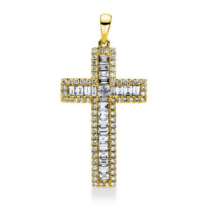 18 kt yellow gold pendant with 97 diamonds 3A762G8-1