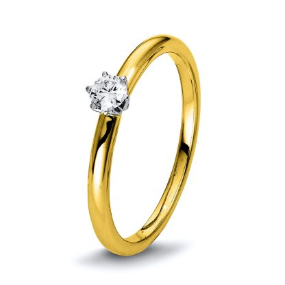 18 kt yellow gold / white gold solitaire with 1 diamond 1Q401GW855-1
