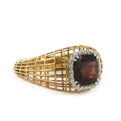Rosé gold ring with diamonds and garnet 33200 01
