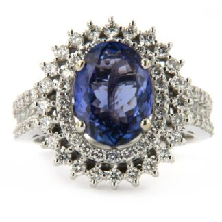 White gold ring with diamonds and sapphire 36785 01