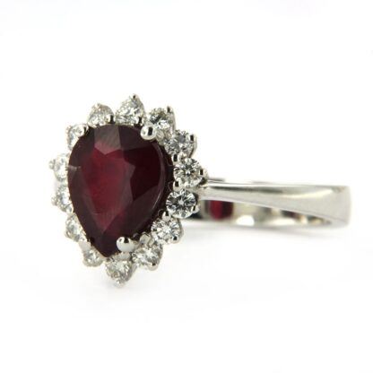 White gold ring with diamonds and ruby 38347 01