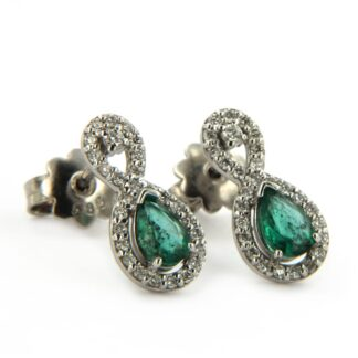 White gold earrings with emerald and diamonds 38360 01