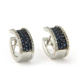 White gold earrings with sapphire and diamonds 40248 01