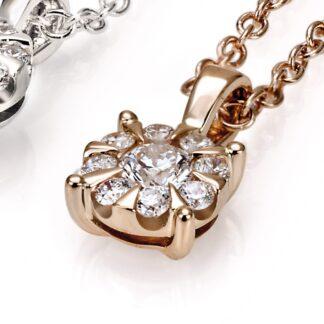 Roségold necklace and roségold pendant with diamonds 40535 01