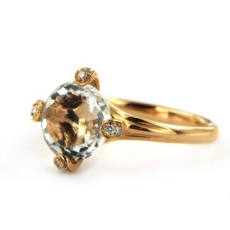 Yellow gold ring with cristal and diamonds 40540 01