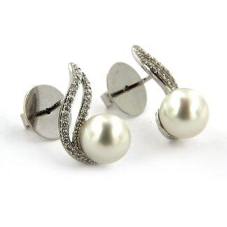 White gold earrings with tahiti pearl and diamonds 42787 01