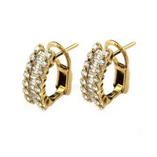 Yellow gold earrings with diamonds 43536 01