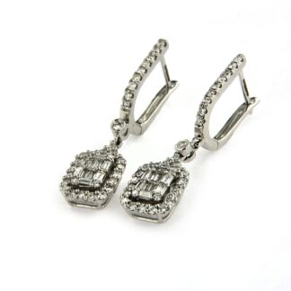 White gold earrings with diamonds 43565 01