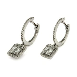 White gold earrings with diamonds 43566 01