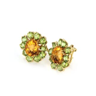 Yellow gold earrings with citrin and peridot 43730 01
