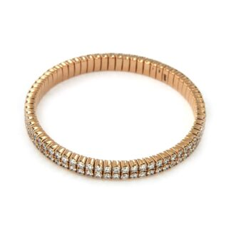 Flexible yellow gold bracelet with diamonds 43746 01
