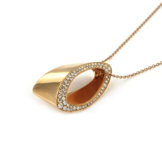 Rosé gold necklace with diamonds 43832 01