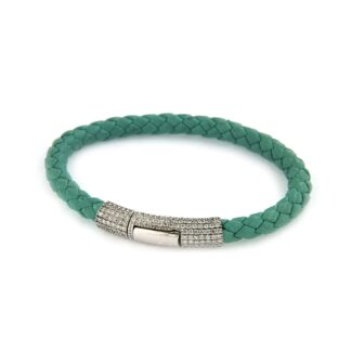 Turquise-green water resistant leather bracelet with pavé claps 43840 01