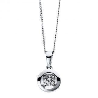 9 kt fehérarany nyaklánc 1 gyémánttal 4D251W9-1