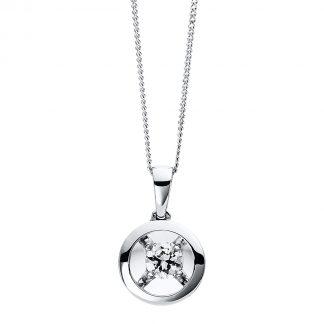 9 kt fehérarany nyaklánc 1 gyémánttal 4D254W9-1