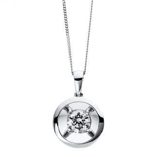 9 kt fehérarany nyaklánc 1 gyémánttal 4D255W9-1