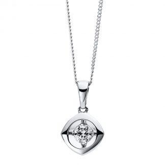 9 kt fehérarany nyaklánc 1 gyémánttal 4D256W9-1