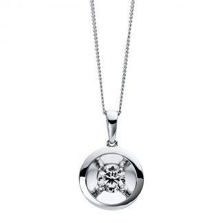 9 kt fehérarany nyaklánc 1 gyémánttal 4D259W9-1