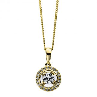 9 kt sárga arany nyaklánc 22 gyémánttal 4D264G9-1