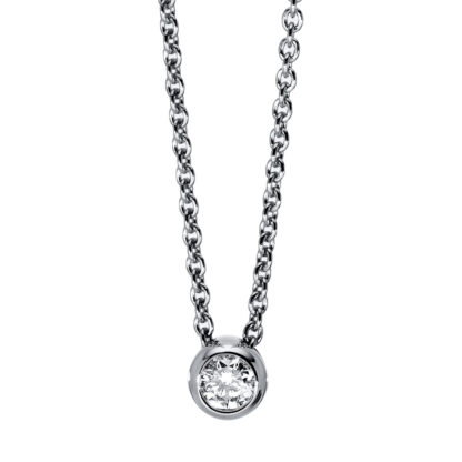 14 kt white gold necklace with 1 diamond 4C698W4-1