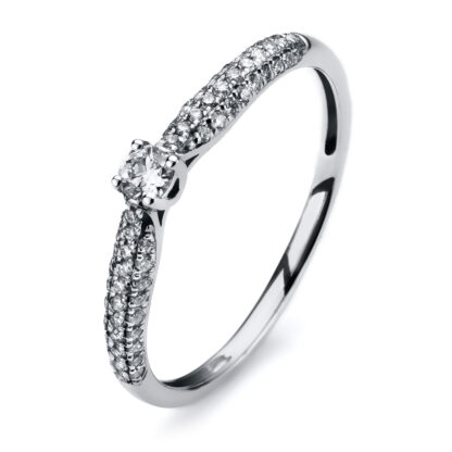 14 kt white gold solitaire with side stones with 59 diamonds 1A312W453-1