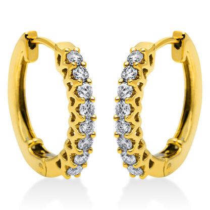 14 kt yellow gold hoops & huggies with 16 diamonds 2I864G4-1