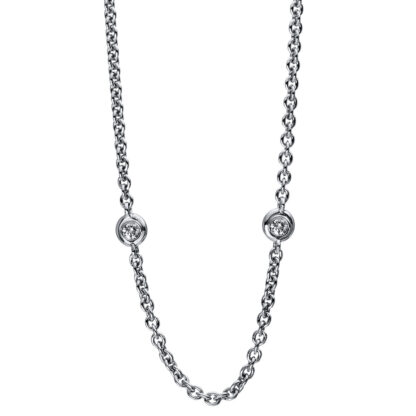18 kt white gold necklace with 5 diamonds 4D467W8-1