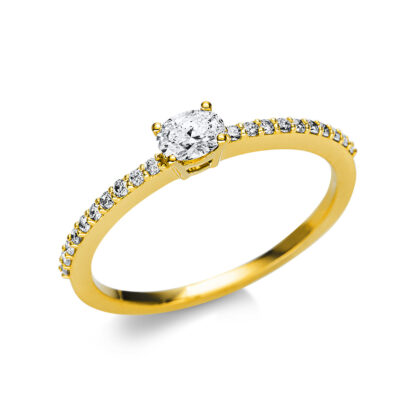 18 kt yellow gold solitaire with side stones with 21 diamonds 1U626G854-1