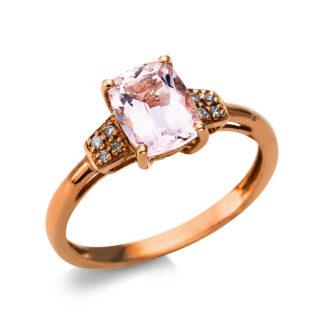 10 kt vörös arany színes drágakő 8 gyémánttal