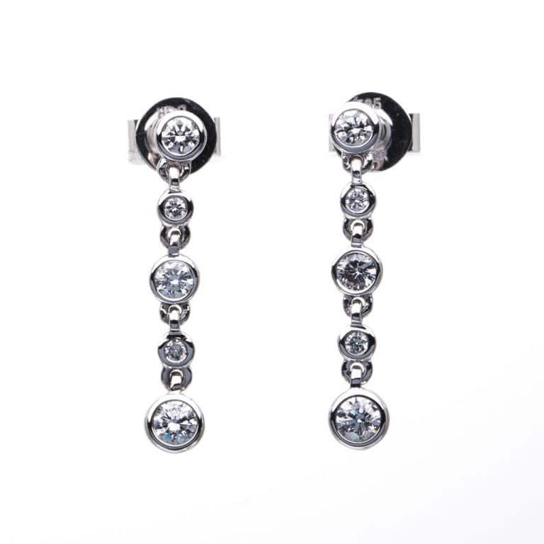 14 kt fehérarany fülbevaló 10 gyémánttal 2A226W4-3